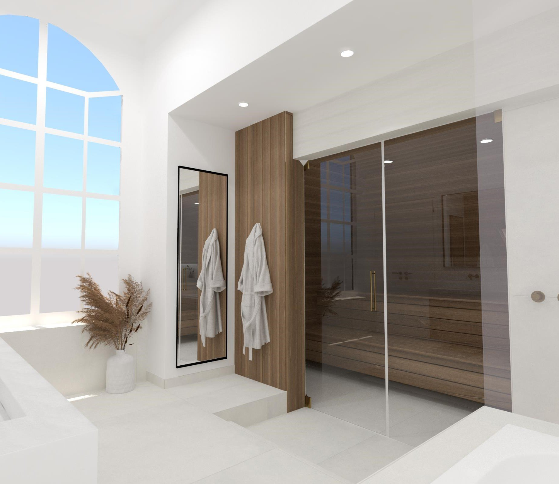 Ontwerp door adviseurs van Het Badhuys van badkamer met sauna.